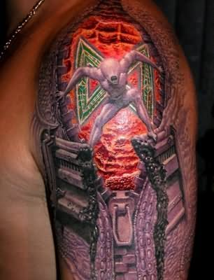 3D Red Colorful Alien Tattoo Design