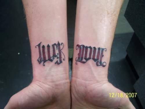 ambigram just love tattoo