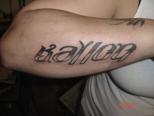 Ambigram Tattoo On Arm Back