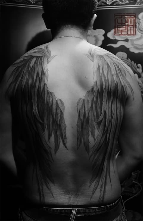 Full Sleeve Rosary Angel Tattoo