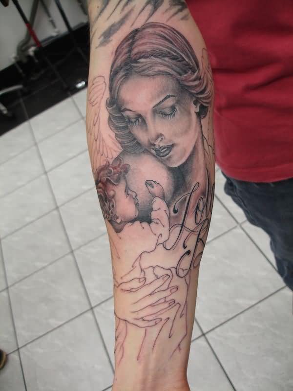 beautiful angel tattoo on arm
