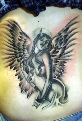 devil angel wings tattoo on back. Black Bedroom Furniture Sets. Home Design Ideas