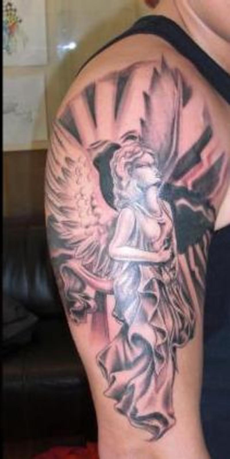 Guardian angel tattoo for shoulder for Guardian angel half sleeve tattoos