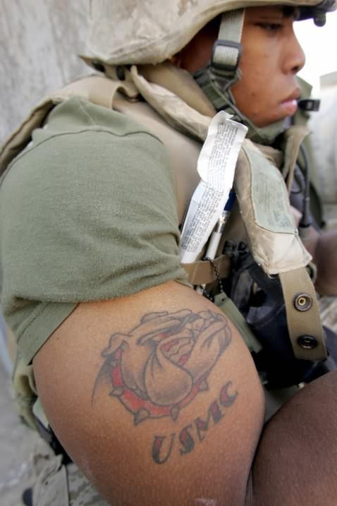 R Lee Ermey Tattoo USMC Tattoo On Muscles