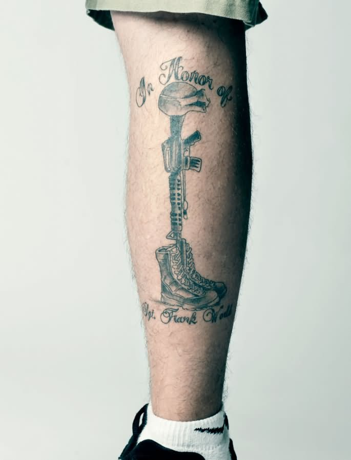 Army Equipment Tattoo On Leg