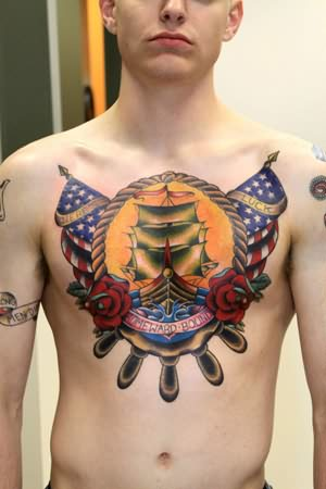 Navy army tattoo on chest for Traditional navy tattoos