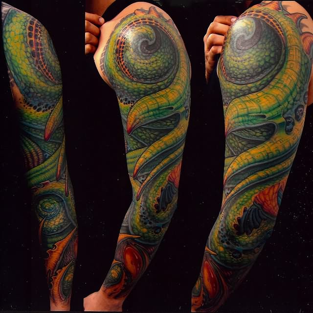 Biomechanical Green Snake Tattoo