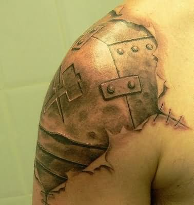 Cool shoulder biochemical tattoo for Armour of god tattoo