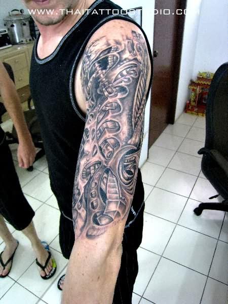 Free hand biomechanical tattoo for Biomechanical hand tattoo designs