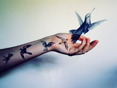 Bird Flying Story Tattoo
