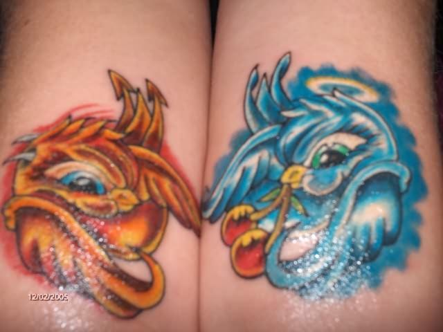 Blue & Orange Bird Tattoo