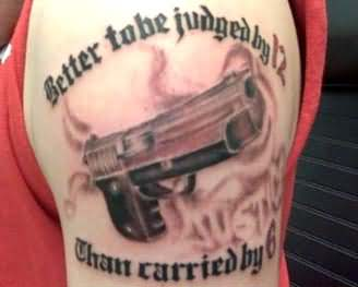 Gangsta Gun Tattoo On Shoulder