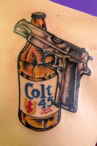 gun and beer gangsta tattoo. Black Bedroom Furniture Sets. Home Design Ideas