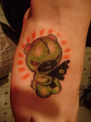 Teddy Bear Gangsta Tattoo