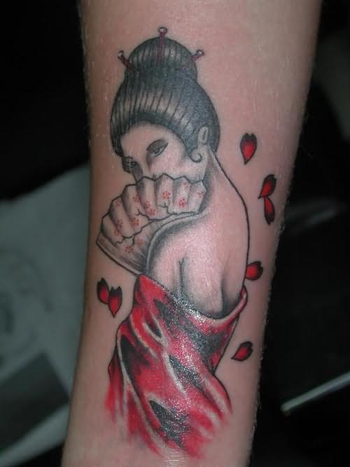 Geisha red ink tattoo for Red ink tattoos