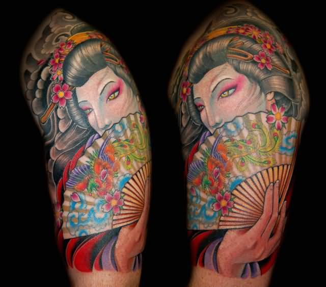 japanese geisha shoulder tattoo. Black Bedroom Furniture Sets. Home Design Ideas