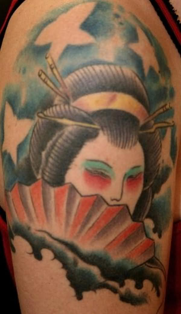 Shoulder Geisha Tattoo