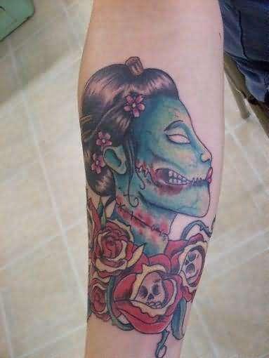 zombie geisha colour tattoo. Black Bedroom Furniture Sets. Home Design Ideas