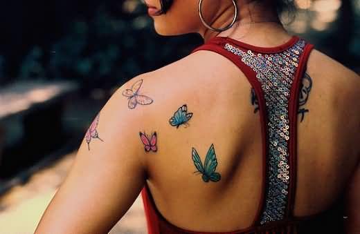 Butterfly Tattoos on Upper Shoulder For Girls