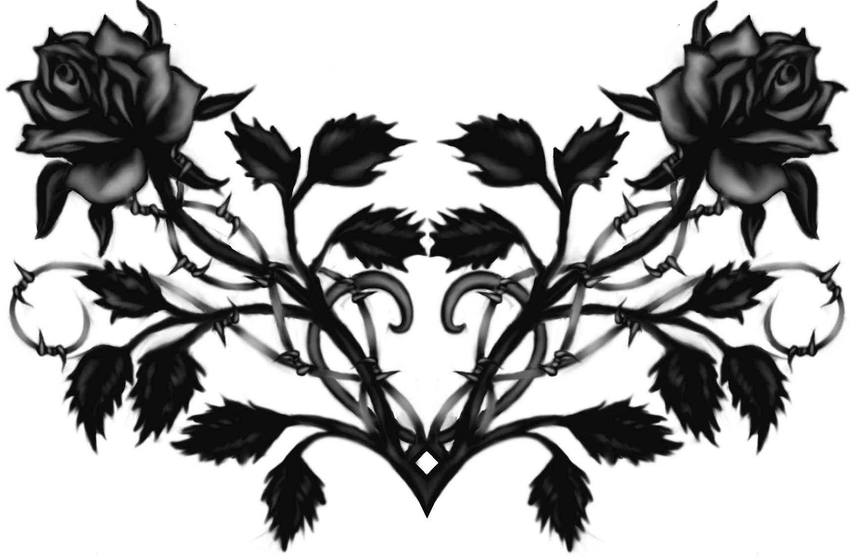 Gothic Black Roses Tattoos Designs