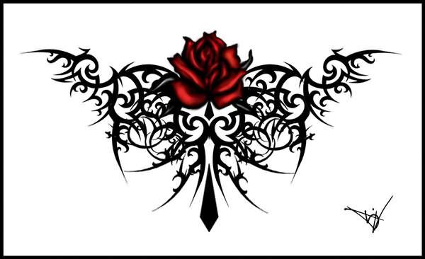 Gothic Maroon Rose Tattoo