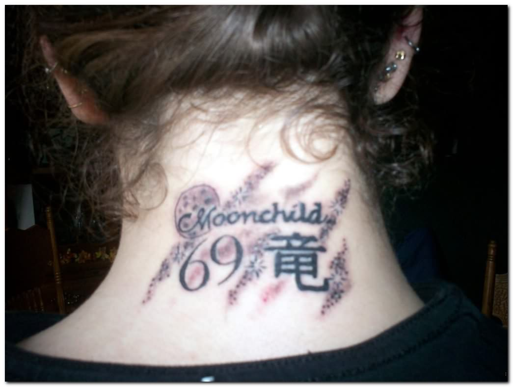 Back of neck tattoo designs for men for Gothic neck tattoos