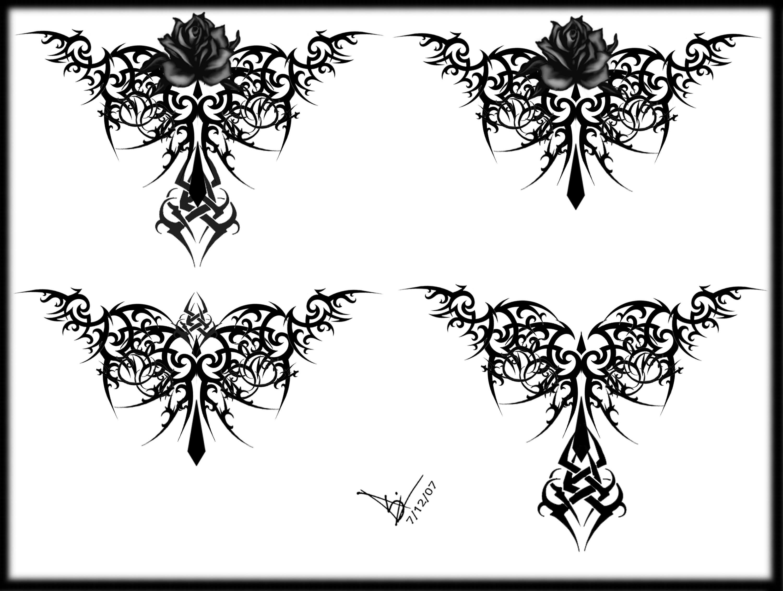 gothic tribal rose tattoo. Black Bedroom Furniture Sets. Home Design Ideas