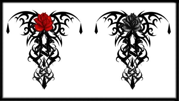 Tribal Gothic Rose Design Tattoo