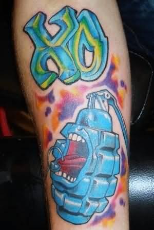 Grenade graffiti tattoo for Graffiti tattoos sleeves