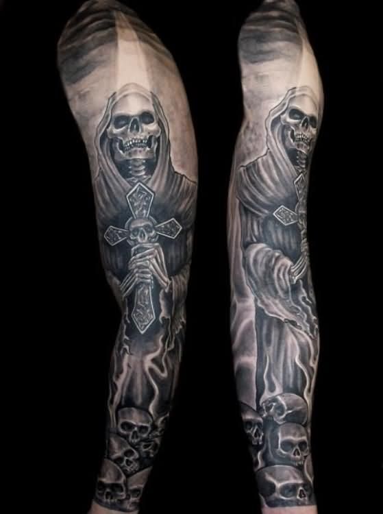 Full Sleeve Grim Reaper Tattoo