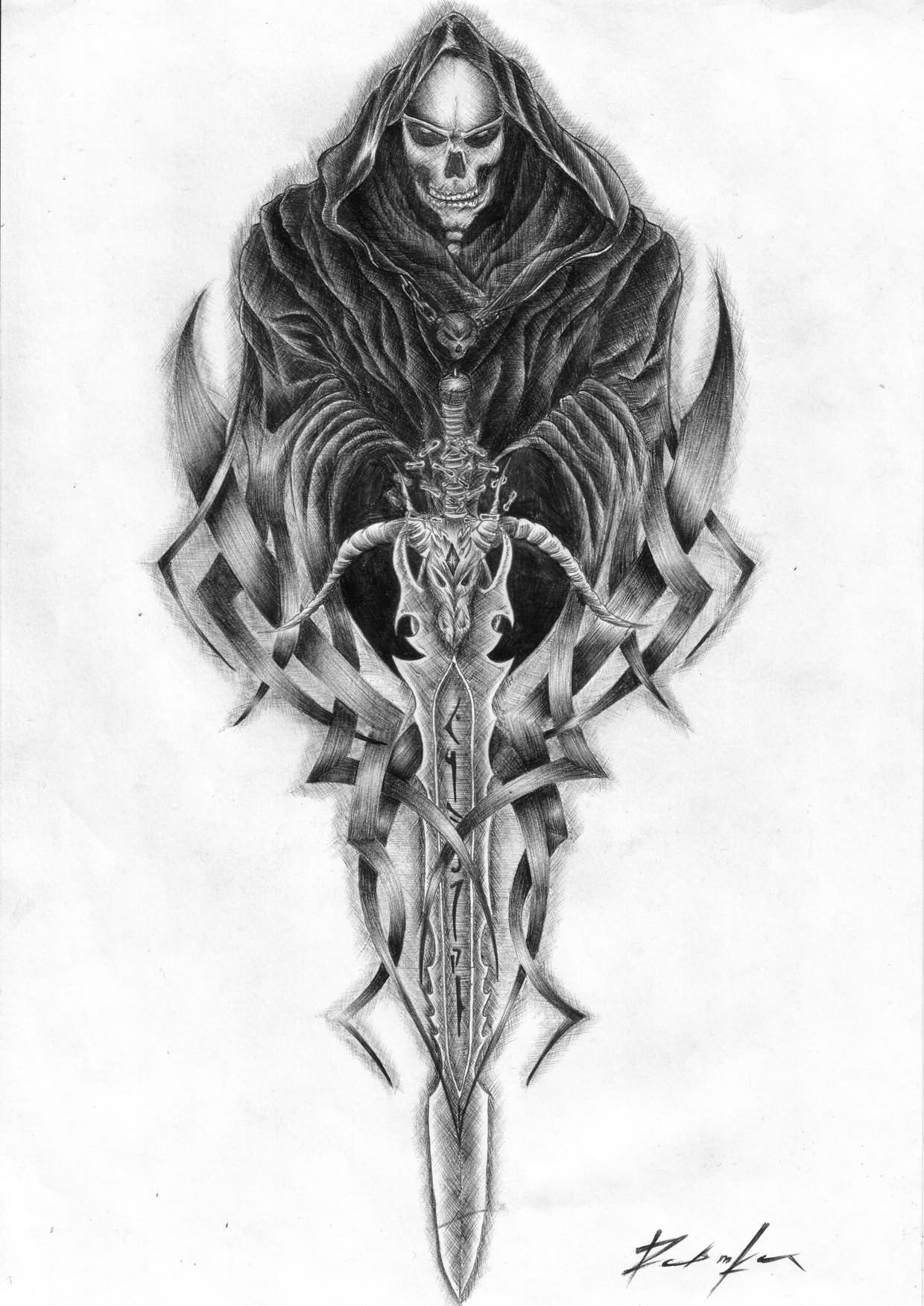 the gallery for grim reaper tattoo sketches. Black Bedroom Furniture Sets. Home Design Ideas