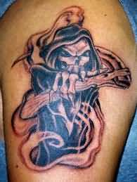 Grim Reaper Snake And Skull Tattoo