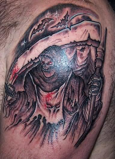 Large  Grim Reaper Skull Tattoo