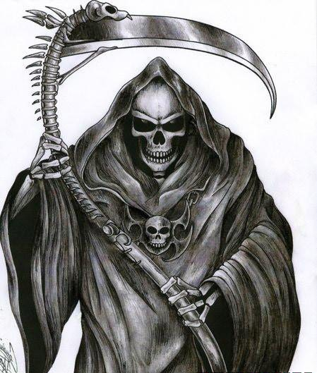 Black ink grim reaper tattoo on shoulder