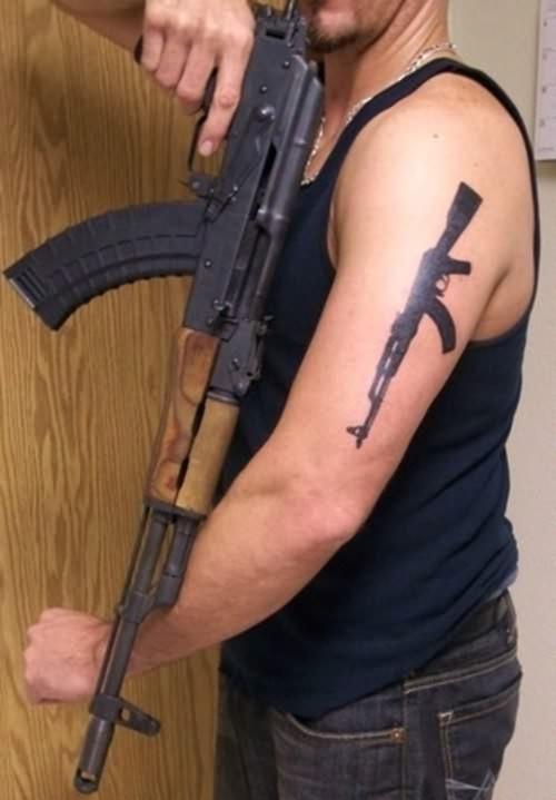 Ak47 Large Gun Tattoo