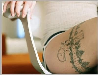 Gun Tattoos on Thigh For Girls Girl Gun Thigh Band Tattoo