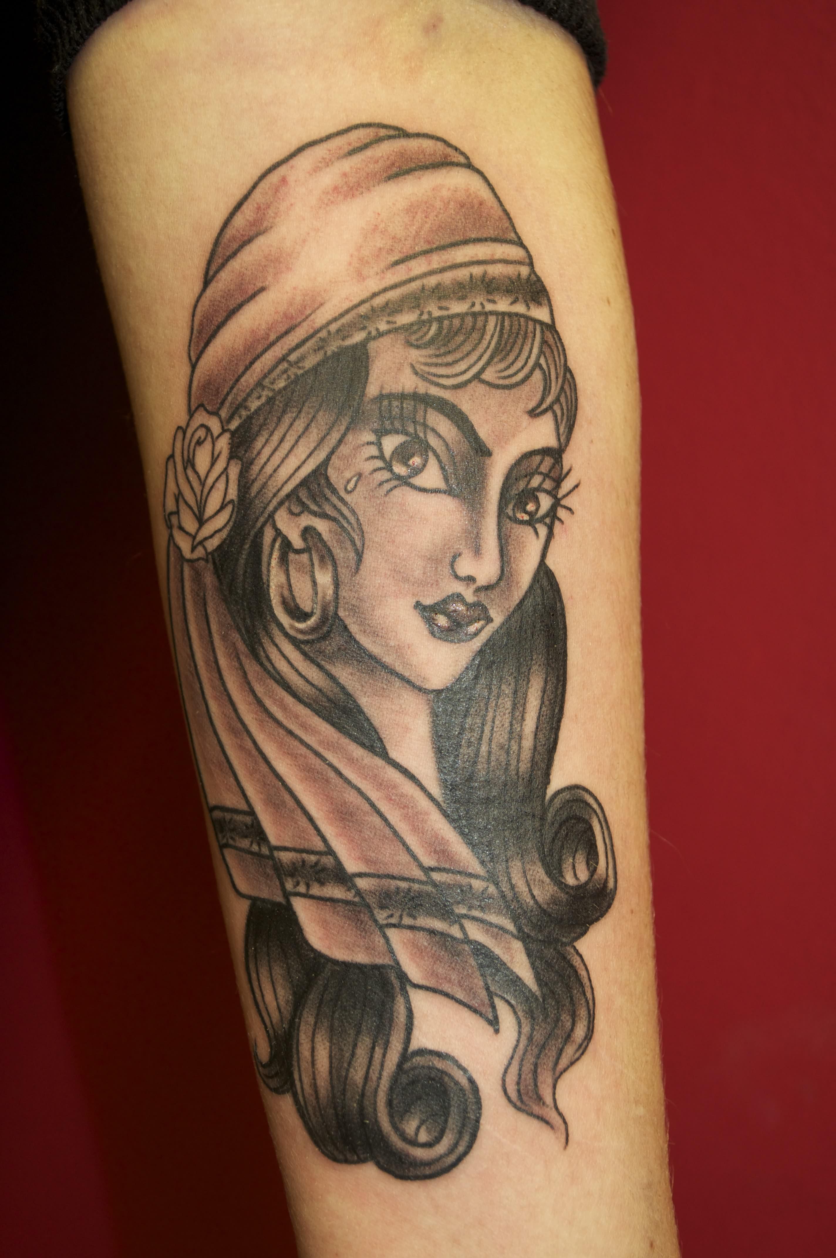 Grey ink gypsy tattoo for Grey tattoo ink