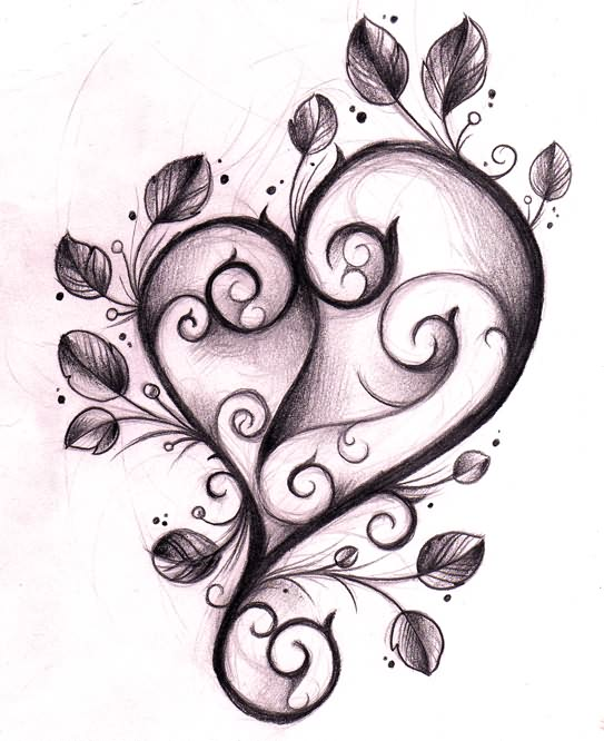 Gallery For gt Pretty Heart Tattoos Designs