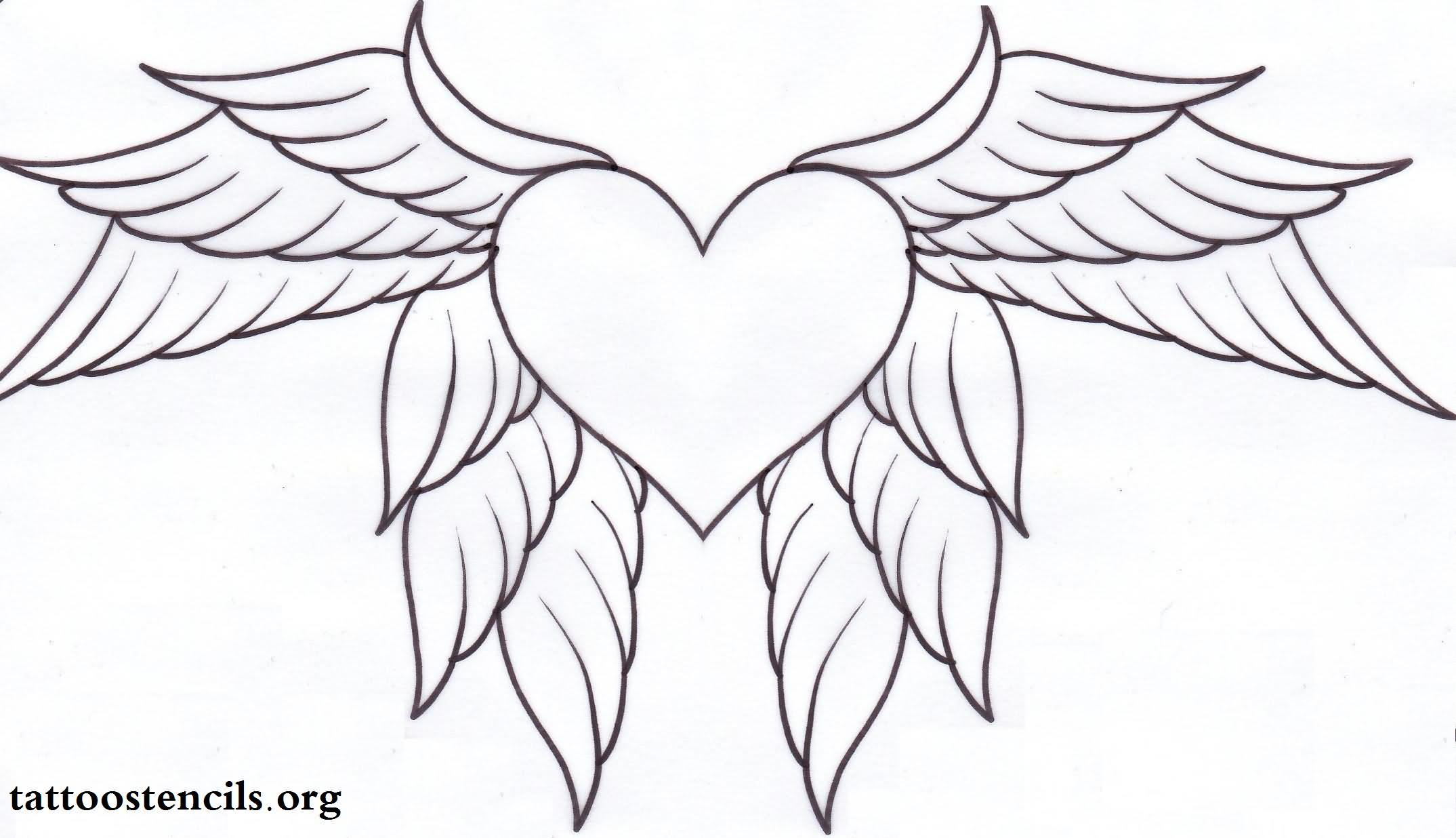 Black Wings Heart Tatt...