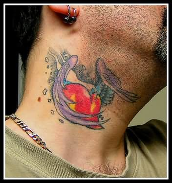 Lovely heart tattoo on neck for Heart tattoo on neck