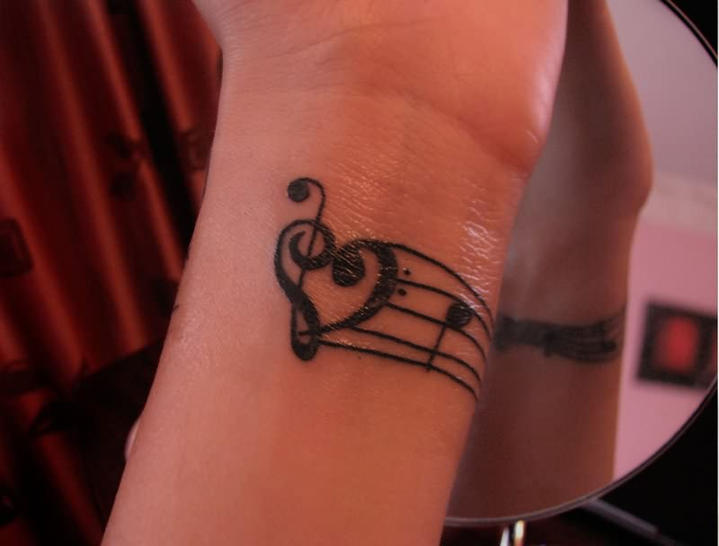 treble bass clef heart tattoo. Black Bedroom Furniture Sets. Home Design Ideas