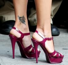 Anklet Tattoo On High Heel