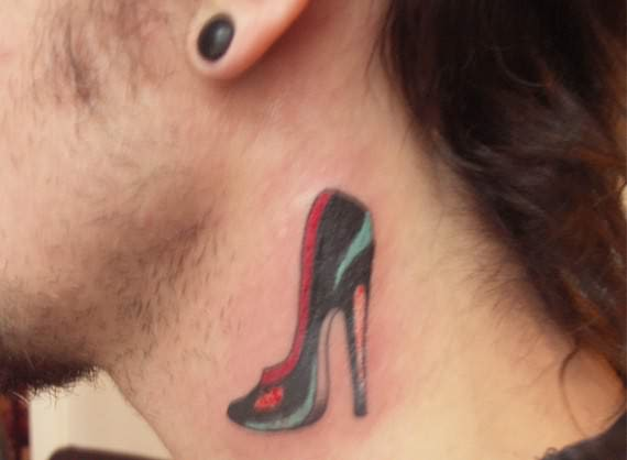 stiletto heels tattoo on neck