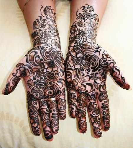 Black Ink Henna Design Tattoo