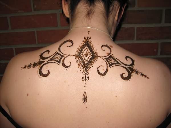 henna tattoo design on back neck. Black Bedroom Furniture Sets. Home Design Ideas