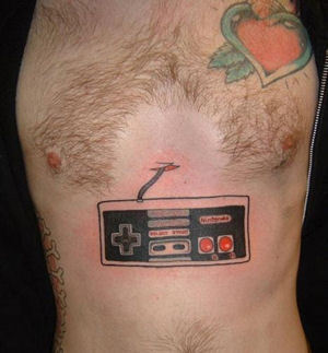 Funny Gaming Tattoo On Stomach