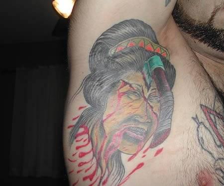 Funny Injured Tattoo On Armpit