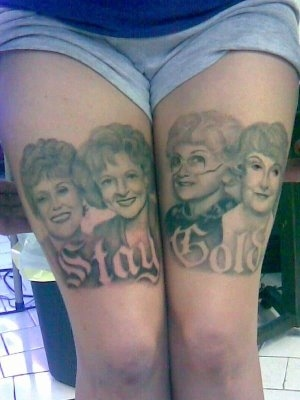 Funny Stay Gold Portrait Tattoo