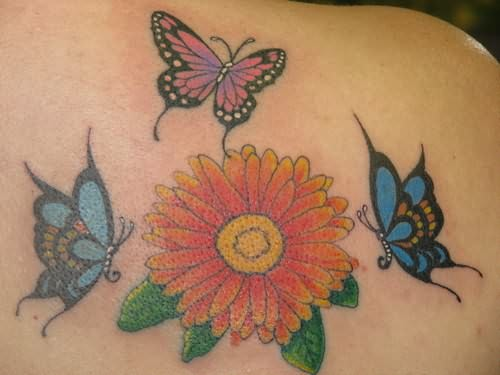Daisy Flower & Butterfly Tattoo