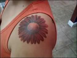Daisy Flower Tattoo On Upper Shoulder